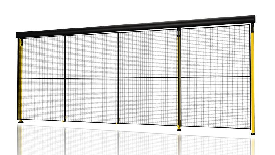 Puerta corredera triple con carril de 3 niveles para proteccion de la maquina - Carril puerta corredera ...